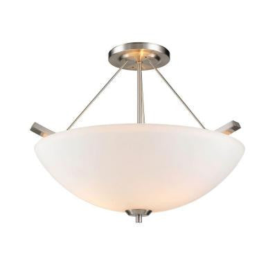 Moira Collection 3-Light Pewter Semi-Flush Mount/Pendant Convertible