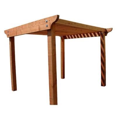 Redwood 8 ft. x 8 ft. Construction Heart Notched Pergola Kit with 3 in. x 12 in. Header Rails
