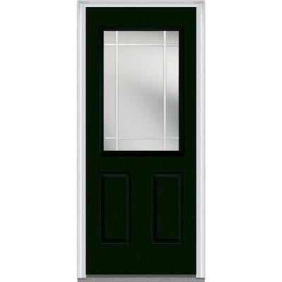 32 in. x 80 in. Classic Clear Glass PIM 1/2 Lite Painted Builder's Choice Steel Prehung Front Door