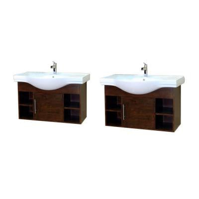 Urban D 81 in. W Double Vanity in Walnut with Porcelain Vanity Top in White