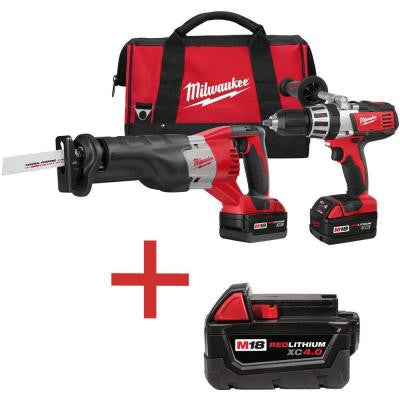 M18 18-Volt Lithium-Ion Cordless Hammer Drill/SAWZALL Combo Kit (2-Tool) with Free M18 4.0Ah Extended Capacity Battery