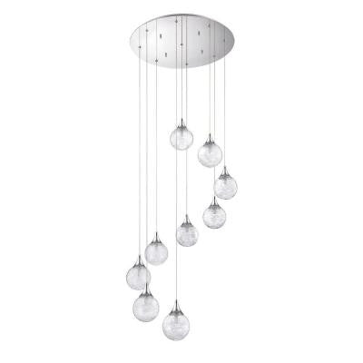 FYBRA Series 9-Light Chrome Pendant