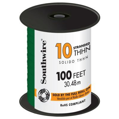 100 ft. 10 Stranded THHN Wire Green