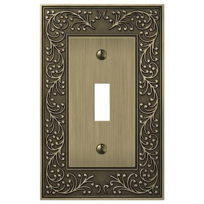 English Garden 1 Toggle Wall Plate - Brass