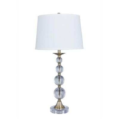 30.5 in. Antique Brass Crystal and Metal Table Lamp with Crystal Base