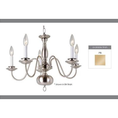 Cabernet Collection 5-Light Polished Brass Chandelier
