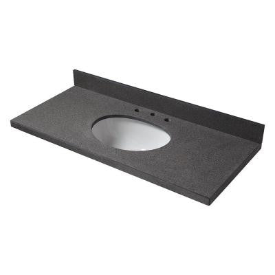 49 in. W Granite Single Basin Vanity Top in Antiqued Black with White Basin