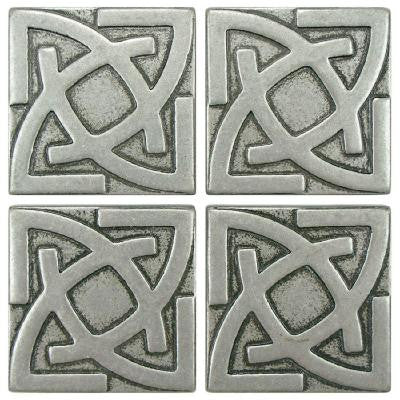Contempo Gaiden Pewter 2 in. x 2 in. Tozetto Medallion Floor and Wall Insert Tile (4-Pack)