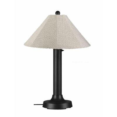 Catalina 34 in. Outdoor Black Table Lamp with Silver Linen Shade
