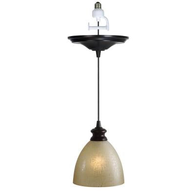 1-Light Brushed Bronze Instant Pendent Light Conversion Kit with Linen Glass Shade