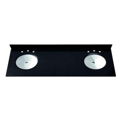 73 in. Granite Vanity Top in Black without Basin
