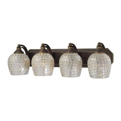 4-Light Aged Bronze Vanity Light with Silver Mosaic Glass