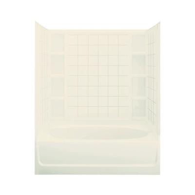 Ensemble 42 in. x 60 in. x 74-1/4 in. Standard Fit Bath and Shower Kit in Biscuit