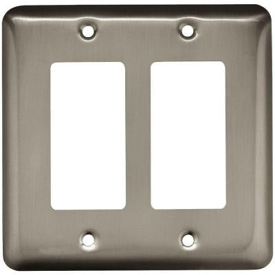 Stamped Round 2 Decora Wall Plate - Satin Nickel