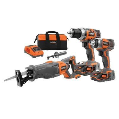 18-Volt Lithium-Ion Cordless Drill/Impact/Reciprocating Combo Kit (3-Tool)