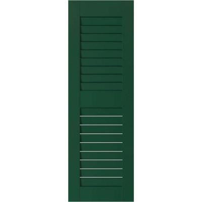 12 in. x 29 in. Exterior Real Wood Sapele Mahogany Louvered Shutters Pair Chrome Green