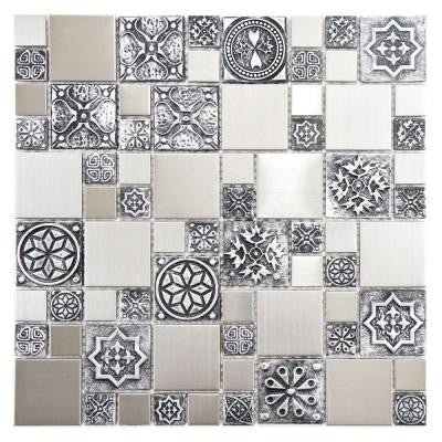 Meta Versailles 11-3/4 in. x 11-3/4 in. x 8 mm Stainless Steel Over Porcelain Mosaic Wall Tile