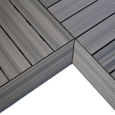 Quick Deck 2 in. x 1 ft Composite Deck Tile Inside Corner in Westminster Gray (2-Pieces/box)