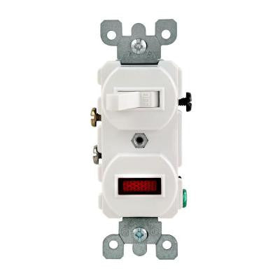 15-Amp Combination Switch with 25-Watt Neon Pilot Light - White