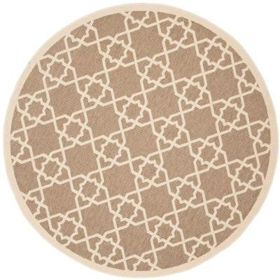 Courtyard Brown/Beige 5 ft. 3 in. x 5 ft. 3 in. Round Indoor/Outdoor Area Rug