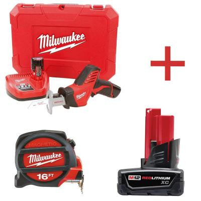 M12 12-Volt Lithium-Ion Cordless HACKZALL Reciprocating Saw Combo Kit 2 Battery Kit with Free M12 XC 3.0Ah Battery