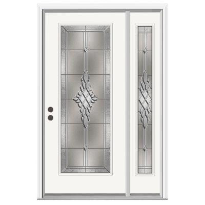36 in. x 80 in. Hadley Full Lite Primed Premium Steel Prehung Front Door with Right Hand Sidelite