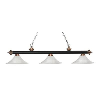 Nesse 3-Light Matte Black and Antique Copper Island Light with White Mottle Glass Shades
