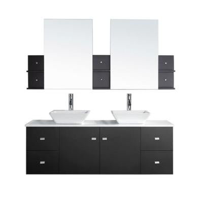 Clarissa 61 in. Double Basin Vanity in Espresso with Stone Vanity Top and Mirror Cabinets in White