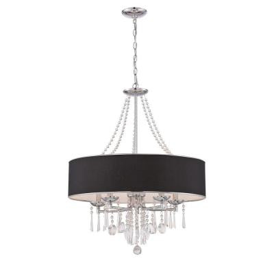 Elton Collection 5-Light Chrome Pendant with Black Shade