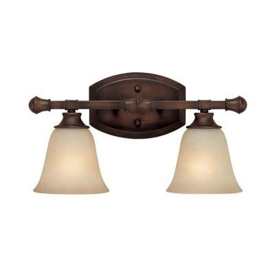 2-Light Burnished Bronze Vanity Light with Mist Scavo Glass Shade