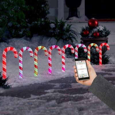 AppLights LED Candy Cane Pathway Light Stakes (Set of 8)