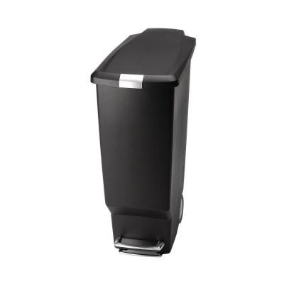 40-Liter Black Plastic Slim Step Trash Can