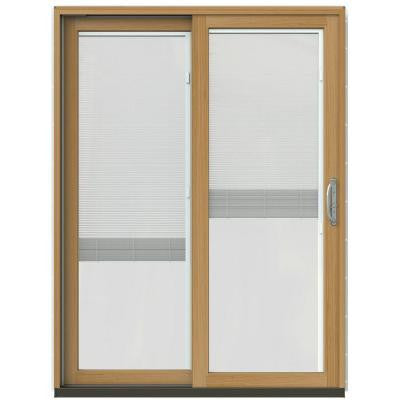 59-1/4 in. x 79-1/2 in. W-2500 Arctic Silver Prehung Left-Hand Clad-Wood Sliding Patio Door with Blinds