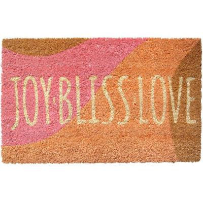 Joy Bliss Love 17 in. x 28 in. Non Slip Coir Door Mat