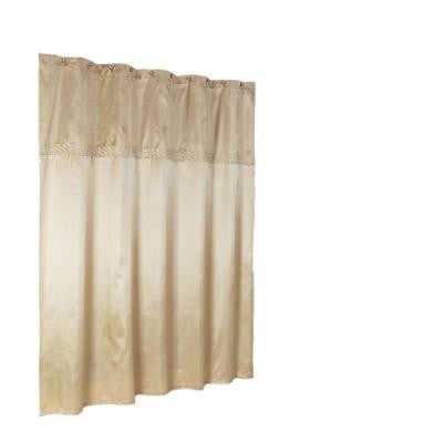 Cornice 72 in. Horizontal Embroidered Shower Curtain in Almond and Barley Faux Silky