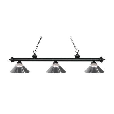 Nelis 3-Light Matte Black Island Light with Ribbed Glass and Chrome Shades