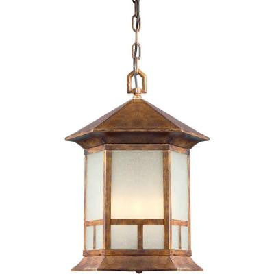 4-Light Outdoor Rustic Sienna Pendant with Umber Linen Glass Panels