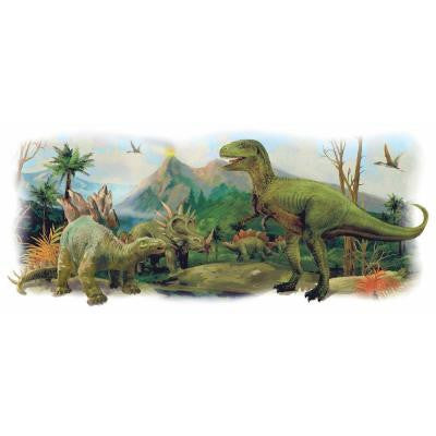 2.5 in. W x 21 in. H Dinosaurs Giant Scene Peel and Stick Wall Graphic