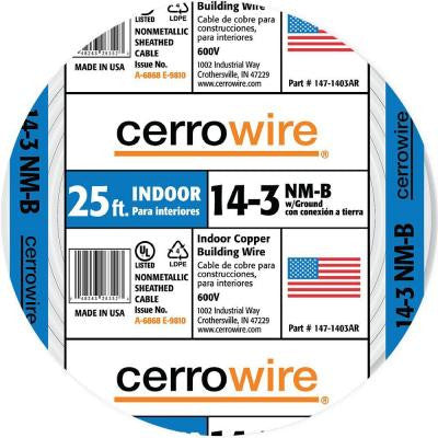 25 ft. 14-3 NM-B with Ground (Coil Shrink Pack)