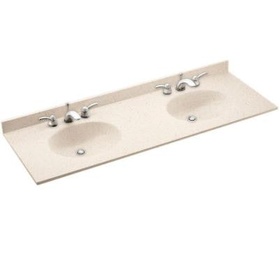 Ellipse 61 in. W x 22 in. D x 10-1/4 in. H Solid-Surface Double Basin Vanity Top with Basin in Tahiti Desert