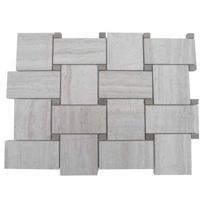 Basketbraid Wooden Beige with Athens Gray Dot 10.63 in. x 10.63 in. x 270 mm Mosaic Floor and Wall Tile