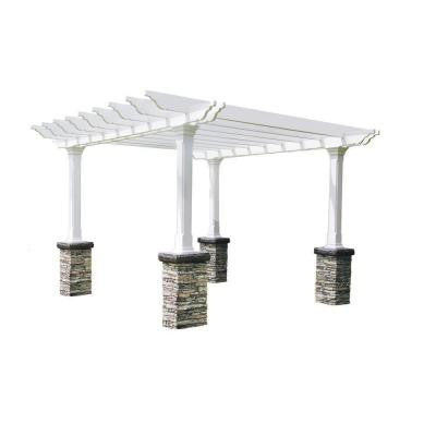 Heritage 18 ft. x 18 ft. Gray Stacked Stone Dual Beam Pergola