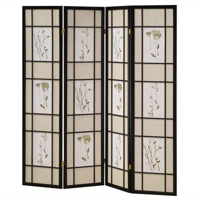 4-Panel Shoji Screen Room Divider with Black Finish