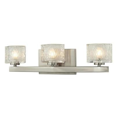 Rainfall 3-Light Brushed Nickel Bath Vanity Light