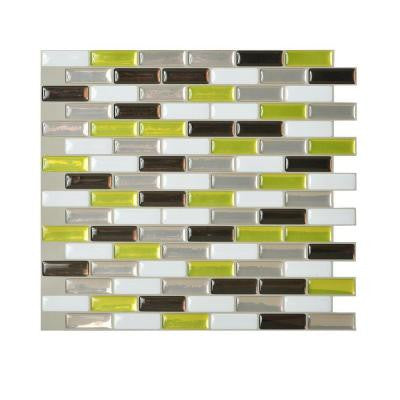 10.20 in. x 9.10 in. Peel and Stick Mosaic Decorative Tile Backsplash Murano Verde in Spring Green (Box of 12 Tiles)