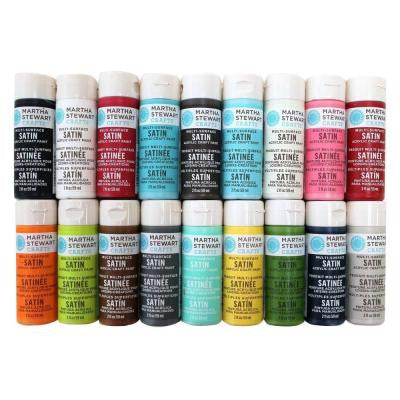 2 oz. 18-Color Multi-Surface Satin Acrylic Craft Paint Set