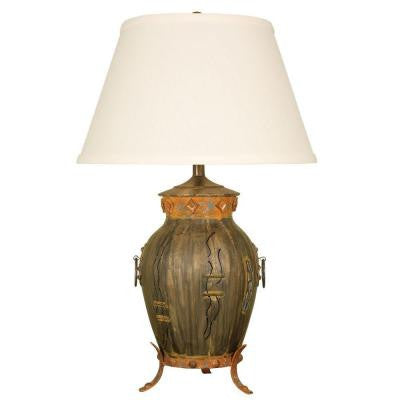 30 in. Aged Bronze Southwest Urn Table Lamp with Brussels Linen Shade
