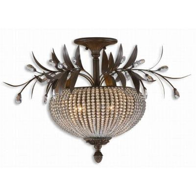 Cristal De Lisbon 3-Light Bronze Beaded Semi-Flush Mount Light