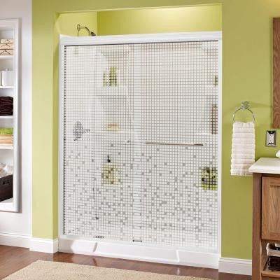 Simplicity 60 in. x 70 in. Semi-Framed Sliding Shower Door in White with Mosaic Glass and Chrome Hardware