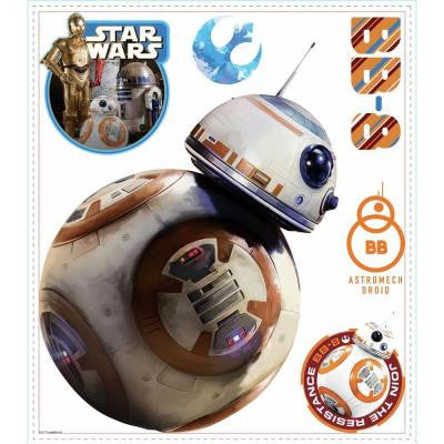 5 in. W x 19 in. H Star Wars EP VII BB-8 6-Piece Peel and Stick Giant Wall Decal